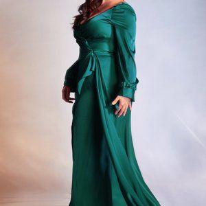PLUS SIZE EMERALD LONG BRIDESMAID DRESS CD7478